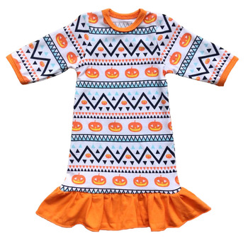 festival Halloween  baby girl dress ruffle hem long sleeve autumn girls clothing have in stock