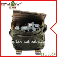 classic style multi-functional water proof canvas with leather camera bag