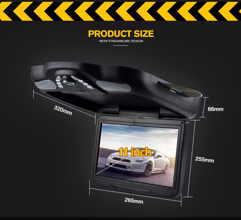 new arrival 11 inch car roof mounted flip down dvd player with usb port sd card slot