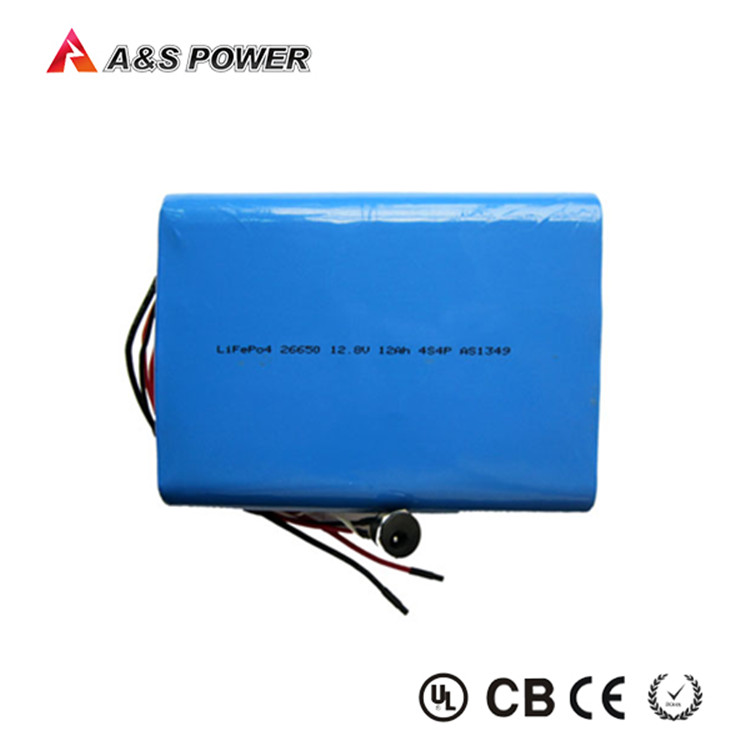 Rechargeable lifepo4 26650 4S4P 12V 12Ah lithium battery packs for Solar led light