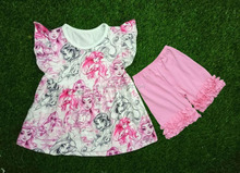 frock fancy tops boutique colourful baby ruffle sets high quality children clothing