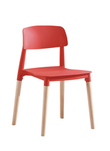 Italian Design Italy Leisure Series PP Plastic Dining Chair With Wood Legs Backrest