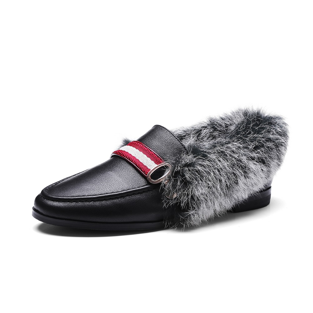 2017 winter new classical rabbit fur women flat loafer slip on shoes
