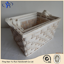 Set of 3 Hand Woven Wooden Storage Baskets For Harvest