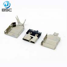 Micro USB Type B 3.0 male Soldering connector 10 Ways with Cover for DIY