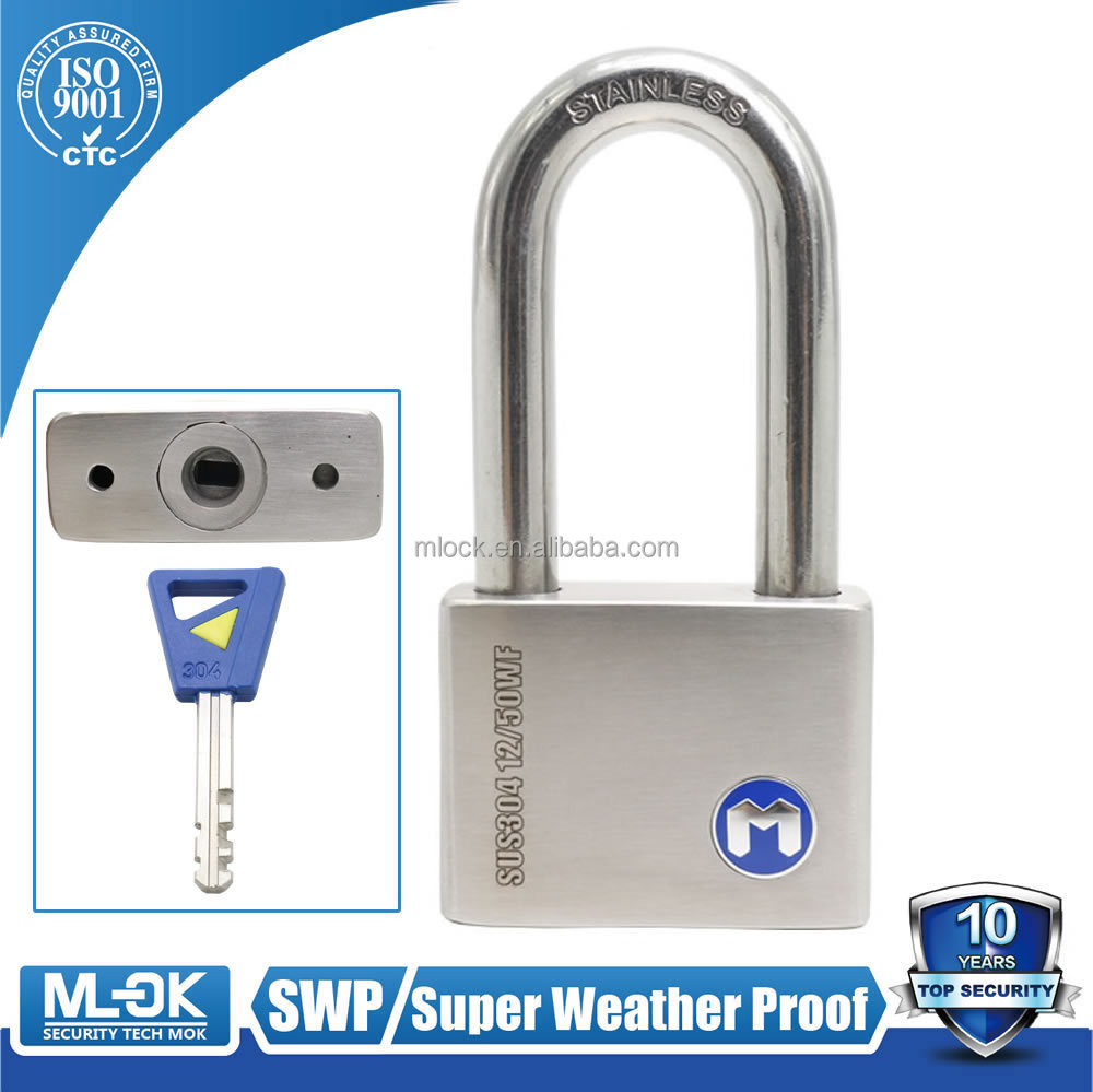 MOK lock W12/50WF 40mm <strong>W102</strong> stainless steel padlocks, 53 mm shackle