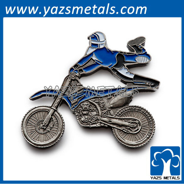 customize die struck high polish pins, custom high quality motorcycle rider pins