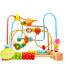 Wooden Fruit Beads Maze Roller Coaster Activity Cube Toy for Early Educational Children Training