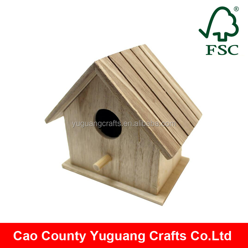 cheap price unfinished natural color wooden bird house