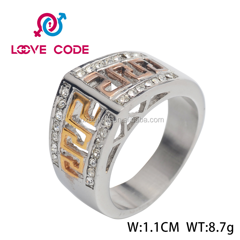 High quality fashion wholesale stainless steel mens crown ring