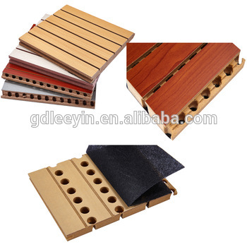 Soundproof Wall Covering Grooved Wood Acoustic Wall Panel For Auditorium