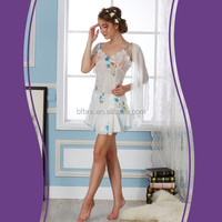 Best quality soft women embroidery lace fancy sexy winter pajamas