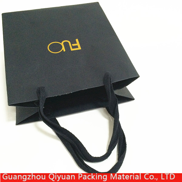 Black shopping gift paper packaging wholesale custom printing your brand name bag