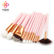 Professional 12Pcs Amazon Hot Sale Beauty Tools Wooden Handle Pink Color Fan Make Up Brushes Foundation Brush Sets Makeup Kits