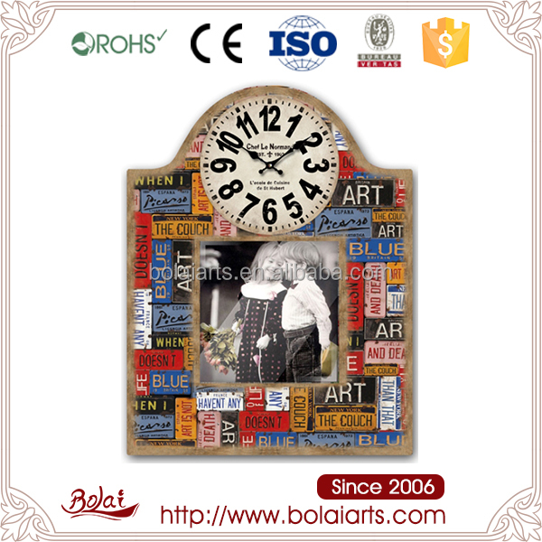 Promotional fashion colorful design mdf frame your photo with clock