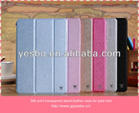 Silk print transparent back stand leather case for ipad mini