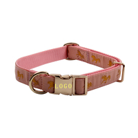Laser Engraved Id Dog Collar Custom Rose Metal Buckle Dog Collar
