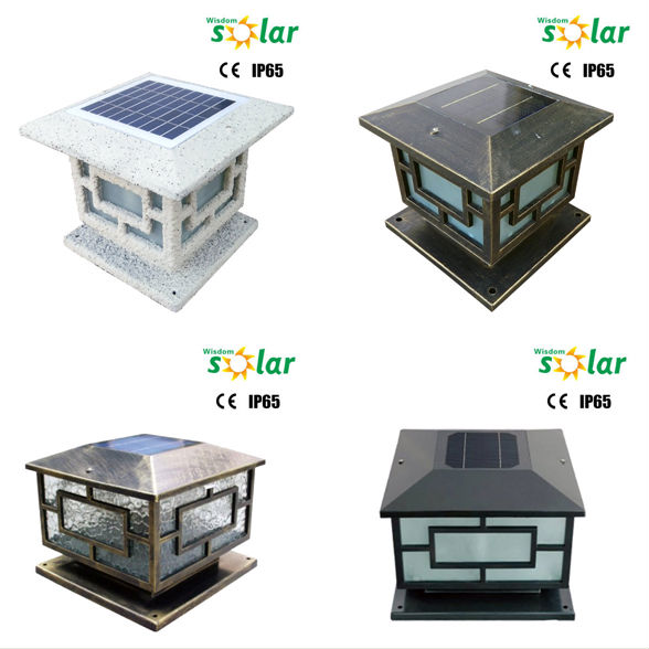 2016 nouveaut ce d coratif jardin solaire lumi re poteau de cl ture cap avec la lumi re led for Poteau eclairage exterieur