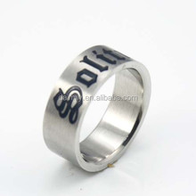 Guangzhou Jewelry Market Wholesale Stainless Steel Jewelry Rings High Polish Laser Engraved Ring Letter Ring