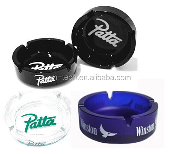 Black/blue/white/crystal portable glass ashtray with custom logo