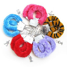 WholeSale 6 pcs/lot in 6 colors Toy Sexy Soft Steel Fuzzy Furry Handcuff Fur Trimmed Sex Toy HK2141