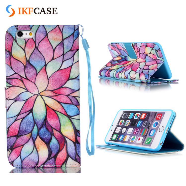 Custom Mobile Phone Flip leather Wallet 3D Case For iPhone 7