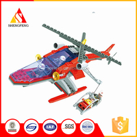 Plastic diy connecting toys building block firefighting model plane