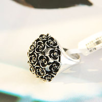 black gold ring Rhinestones Flower Shield Ring with Black Stone SP-JZ-73386