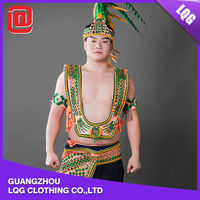 Hot fashion colorful feather rivet decorating handsome carnival costumes for boys