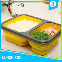 2 divided design folding microwaveable colored tiffin lunch box