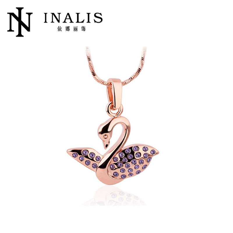2013 Fashion vners wholesale swan pendant gold necklace designs in 10 grams LKN18KRGPN233