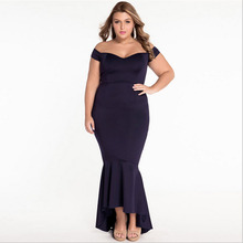 Back Zipper Shoulder Mermaid Evening Dress Plus Size Prom Dress