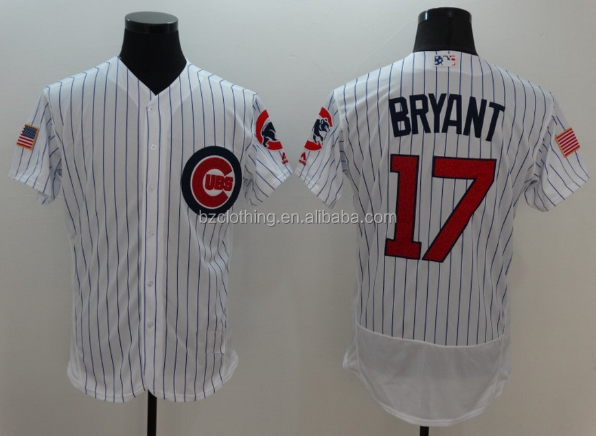Men's Chicago Cubs Kris Bryant #17 White Fashion Stars & Stripes Flexbase Jersey
