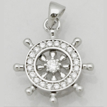 0.5 Inch Sterling Silver 925 Cz Wheel Nautical Pendant Necklaces
