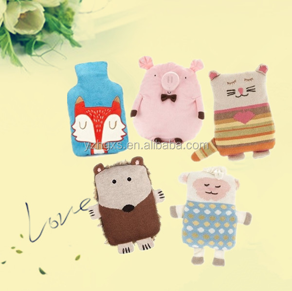 2000ml colorful pvc or rubber hot water bottle with knit/plush/animal cover