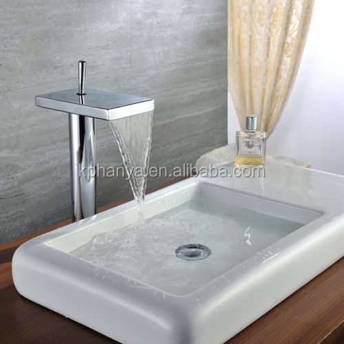 Chrome Bathroom Kitchen Hot/Cold Mixer Waterfall Basin Sink Faucet Single Tap