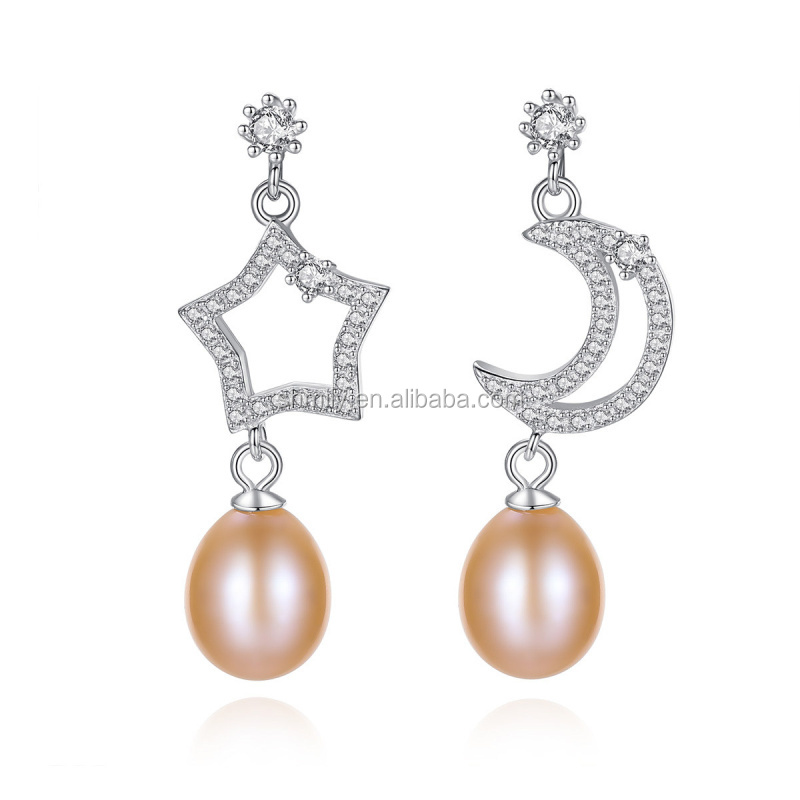New <strong>Fashion</strong> 925 Sterling Silver Shining Star Moon Natural Pearl Dangle Drop Stud Earrings Brincos For Party JPSE033