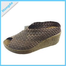Hot sale fuax wooden PU outsole wove elastic shoes