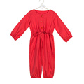 Popular suits with button bowknot red girls rompers baby girl jumpsuit