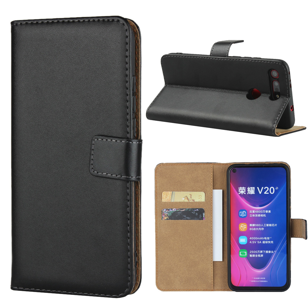 Genuine Leather Card Slot Wallet Flip Cover for huawei honor v20 folio case