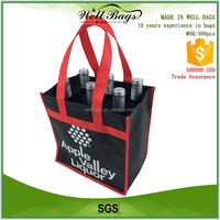 custom red black non woven fabric 6 body bottles wine recyclable tote shopping bag