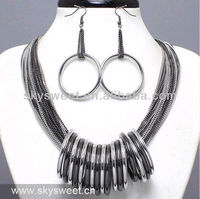 2013 New Design Multi Chain with Rings Necklace Jewelry Set Products (SWTN102)