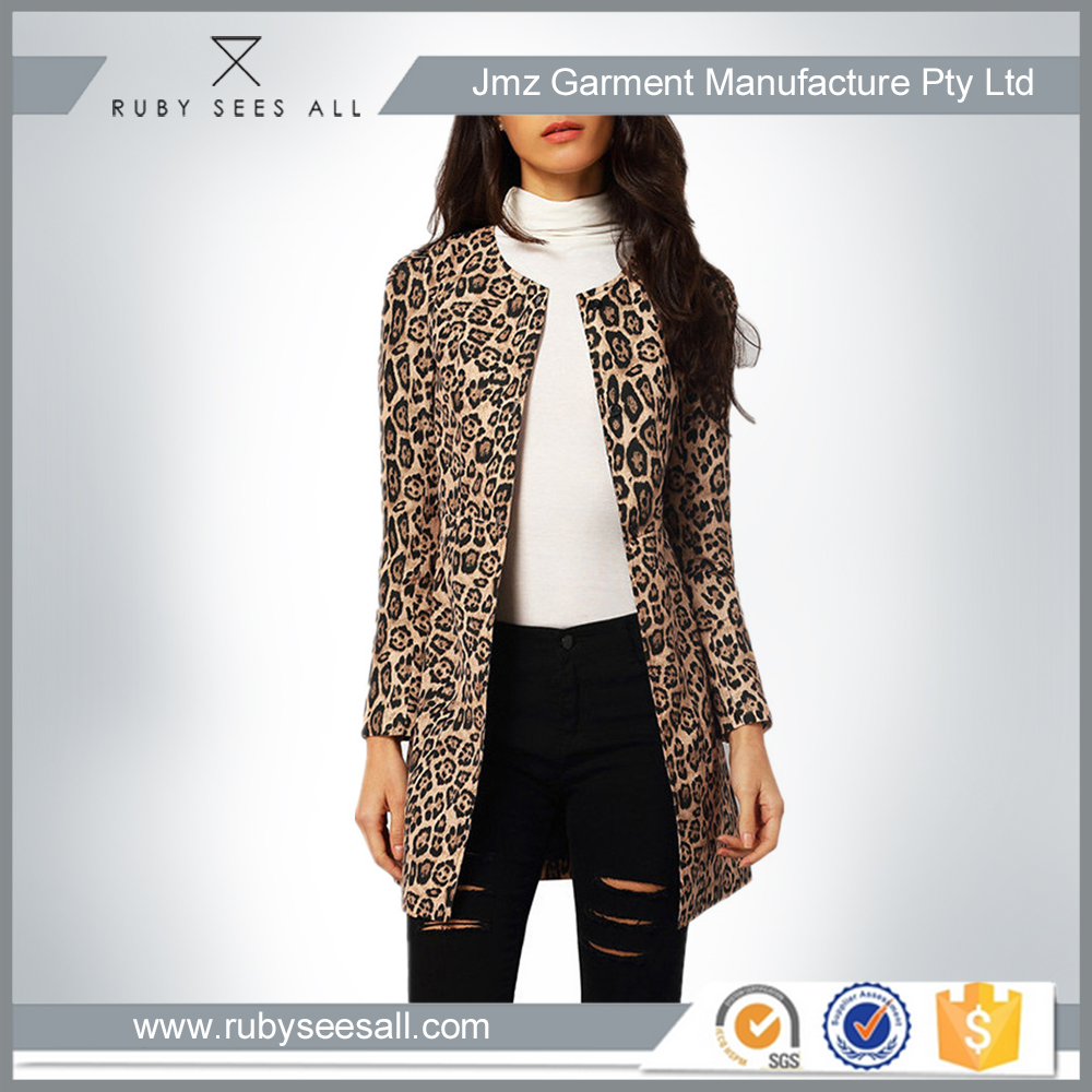 garment factory casual jacket for women leopard print jacket in hotsale sexy lady long coat