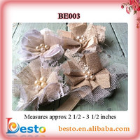 Linen and Lace Fabric Flowers - Floral Embellishments - Wholesale Flowers