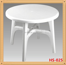Round plastic furniture table with removable legs