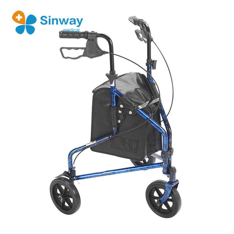 3 Wheeled Folding Walking Frame Medical Walker Rollator with Bags