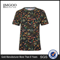 MGOO 2017 Hot Sale Floral Print Stretch T-shirt Custom Sublimation Print Shirts Short Sleeves Round Neck Tops