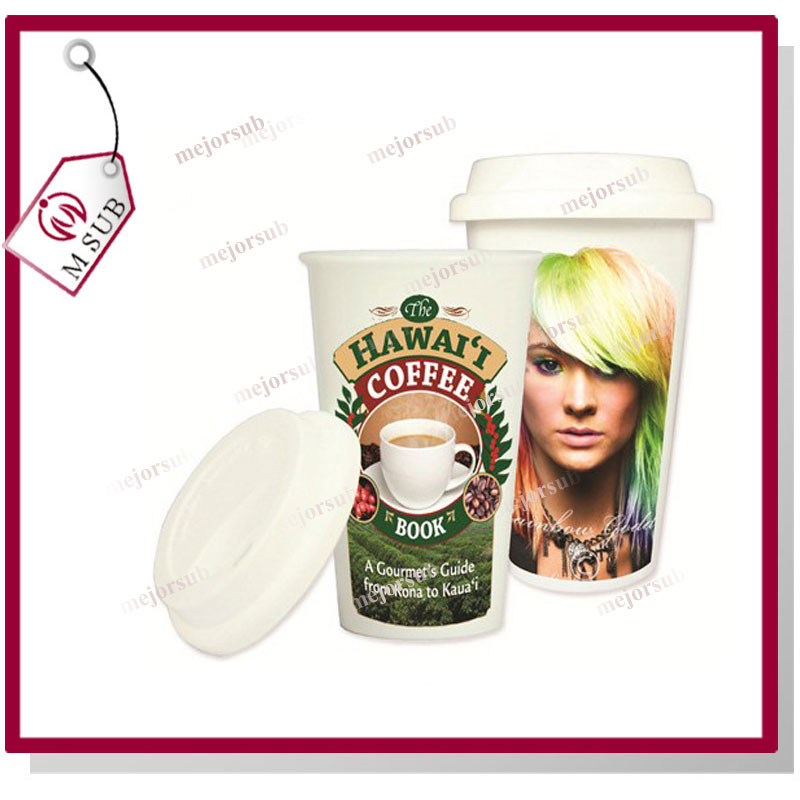11oz sublimation coated double wall ceramic tumblers with silicone lid