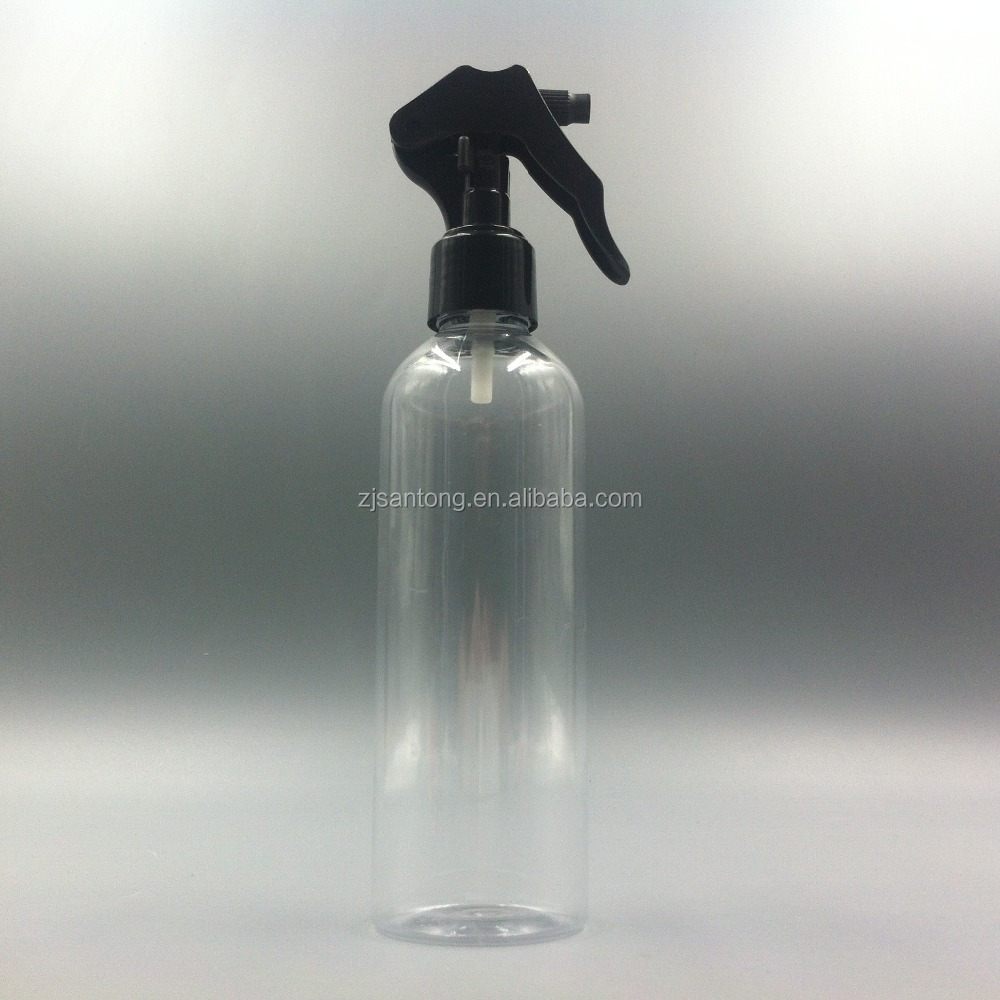 High Quality 250ml PET Plastic Refillable Atomizer Spray Bottle With Black Sprayer Cap