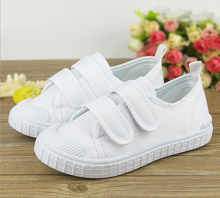FC2503 Children's canvas shoes boys girls Students kids white cloth shoes gymnastics dancing shoes